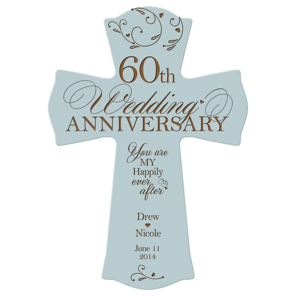 Wedding Anniversary Gifts For Her: Personalized 60th Wedding Anniversary Wood Wall Cross Gift