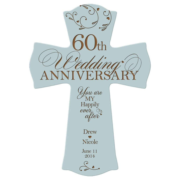 Personalized 60th Anniversary Veneer Wall Cross - Happily Ever After