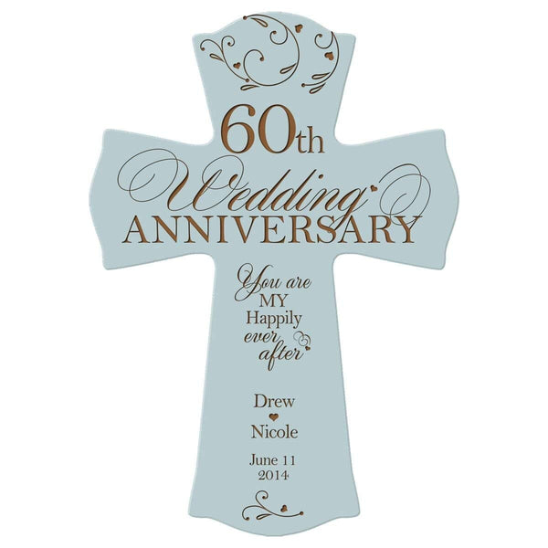 Personalized 60th Anniversary Veneer Wall Cross - Happily Ever After Blue