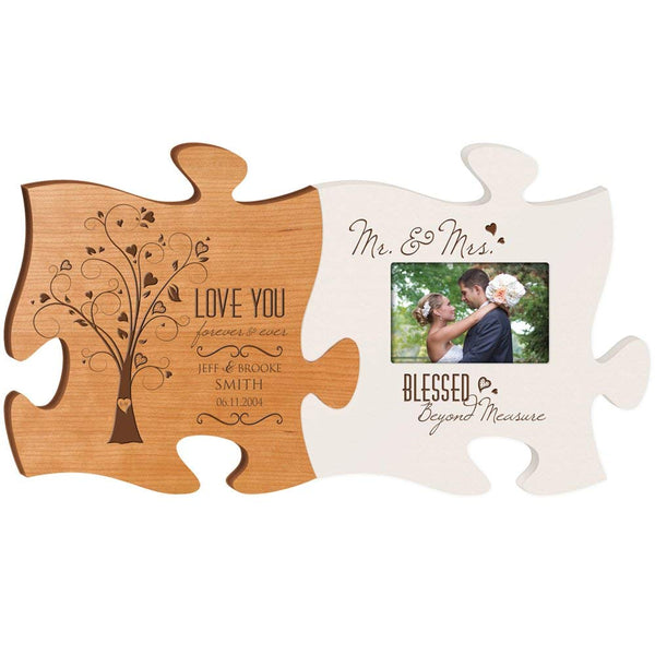 "Personalized Wedding Picture Frame Puzzle Gift ""Love You Forever and Ever with Mr and Mrs Blessed beyond Measure Holds 4x6 photo"