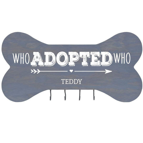 Personalized Dog Bone Sign With Hooks - Who Adopted Who Classic Grey