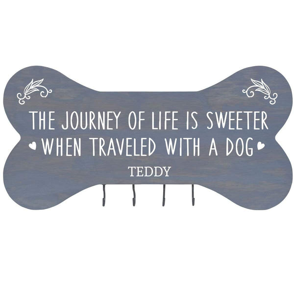 "Personalized The Journey of Life Wall Mounted Dog Bone Pet Leash Rack,Dog Collar Holder New Home Decor Gift ideas and 4 hooks 16"" L x 8"" H 2.5."" deep by Rooms Organized"