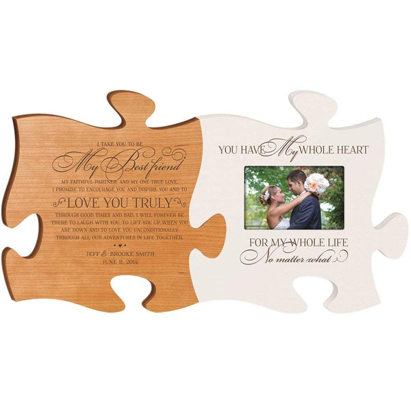 Personalized Wedding Picture Frame Puzzle Piece Set - I Take You to Be My Best Friend - You Have My Whole Heart for My Whole Life - Holds 4x6 Photo by LifeSong Milestones