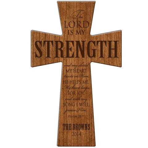 "Personalized Wedding Gift ""The Lord is my Strength"" Wall Cross"