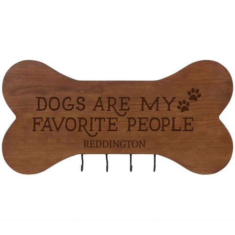 Personalized Dog Bone Sign With Hooks - Dogs Are My Favorite Cherry