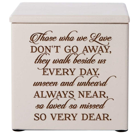 Cremation Urns for Human ashes - SMALL Funeral Urn Keepsake box for Pets - Memorial Gift for home or Columbarium Those who we love don't Go Away- Holds SMALL portion of ashes