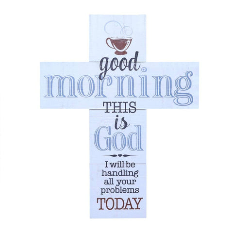 "Wall Cross wall decor Good Morning This is God large cross home decor decoration by LifeSong Milestones 14""x19"""