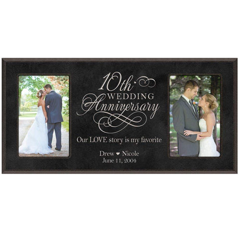Custom 10th Anniversary Picture Frame - Black