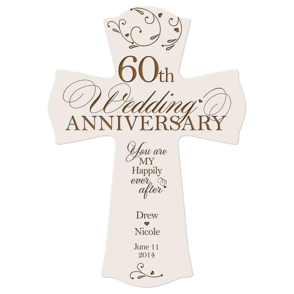 Personalized 60th Wedding Anniversary Wood Wall Cross Gift For
