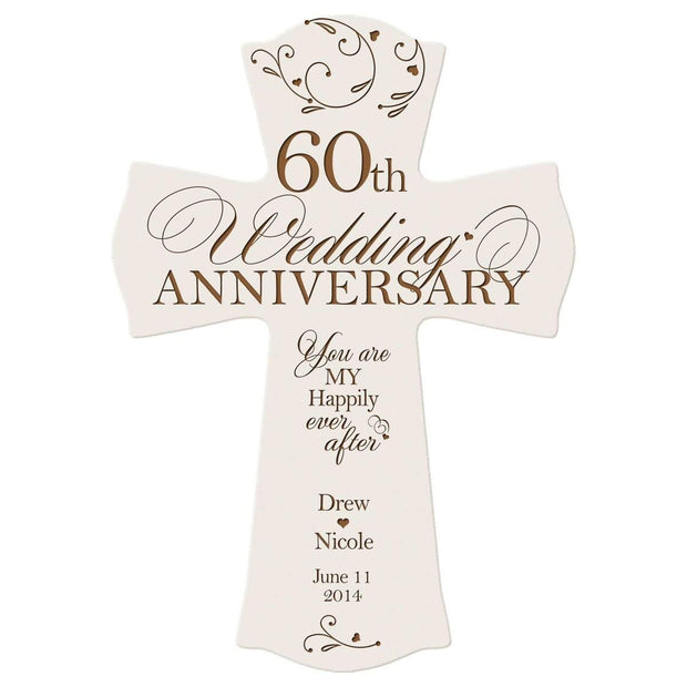 Personalized 60th Anniversary Veneer Wall Cross - Happily Ever After White