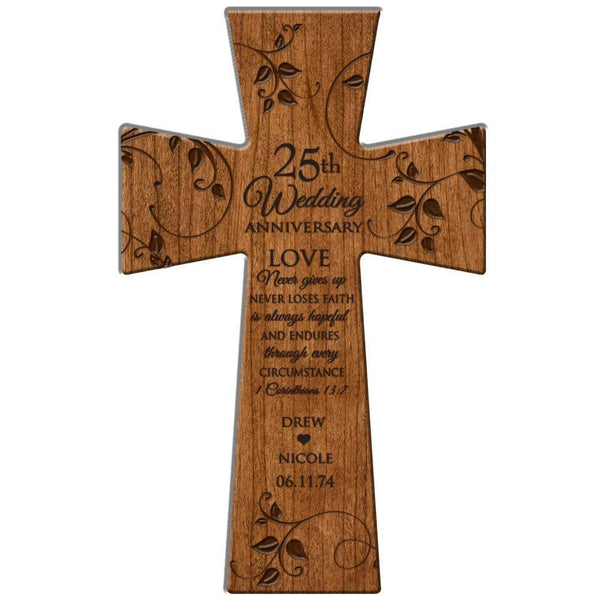 "Personalized 25th Wedding Anniversary Gift Love Never Gives Up Wall Cross 12"" x 17"" Made of Cherry Wood in USA Esclusively from LifeSong Milestones"