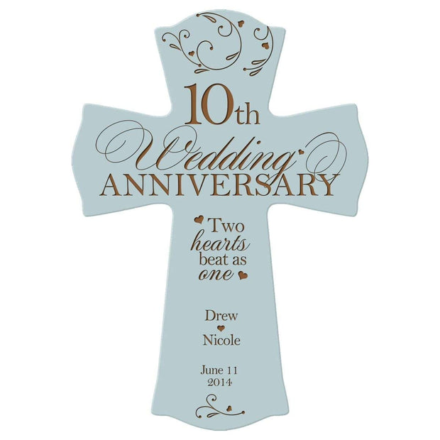 Personalized 10th Anniversary Engraved Wall Cross - Two Hearts Beat Blue