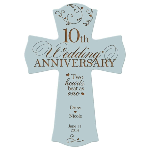 "Personalized 10th Wedding Anniversary Wood Wall Cross Gift for Couple 10 year Anniversary Gifts for Her, Anniversary Gifts for Him Two hearts beat as one (8.5"" x 11"")"