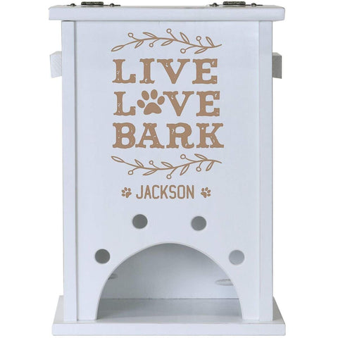 Personalized Pine Pet Toy Box - Live Love Bark White