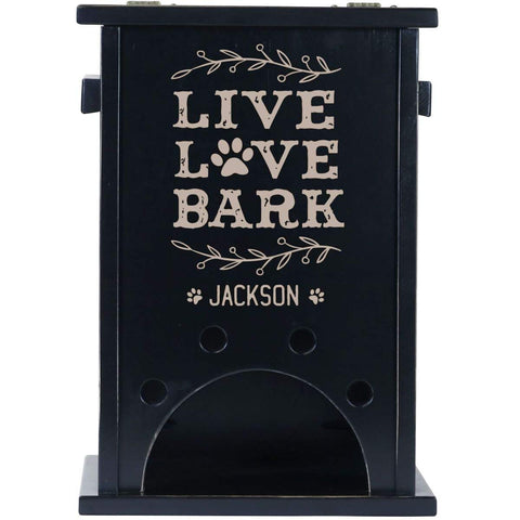Personalized Pine Pet Toy Box - Live Love Bark Black