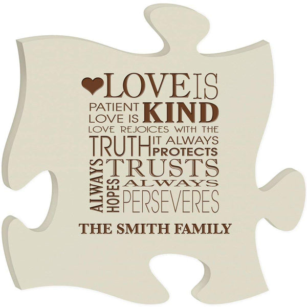Personalized Custom Engraved Puzzle Sign - Love Is Patient Love Is Kind