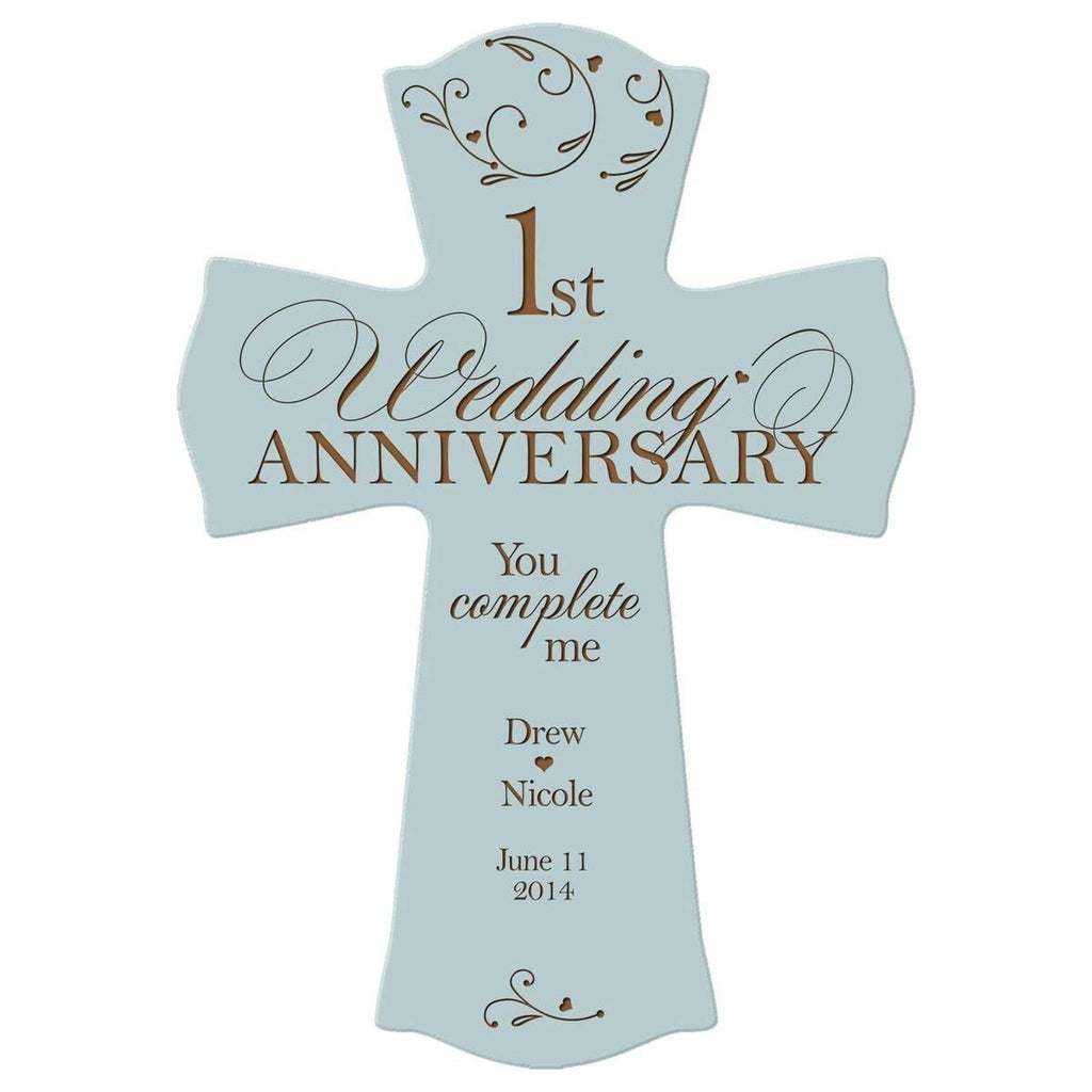 First Wedding Anniversary Gifts For Her: Personalized 1st Wedding Anniversary Wood Wall Cross Gift