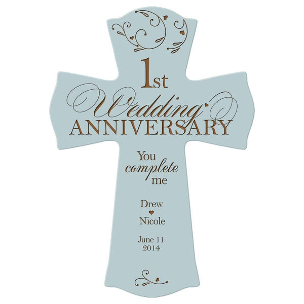 Personalized 1st Anniversary Engraved Wall Cross - You Complete Me Blue