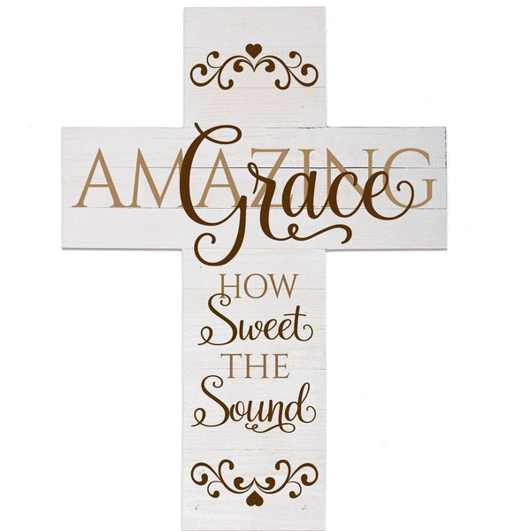 "Wall Cross wall decor Amazing Grace How Sweet the sound large cross home decor decoration by LifeSong Milestones 14""x19"""