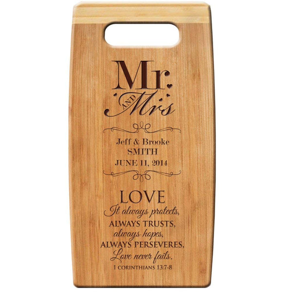 "Personalized Bamboo Cutting Board, Custom Engraved "" Mr & Mrs Love Always Protects Always Trusts 7""x 14"" for Wedding Gift, Anniversary Gift, Housewarming Gift"