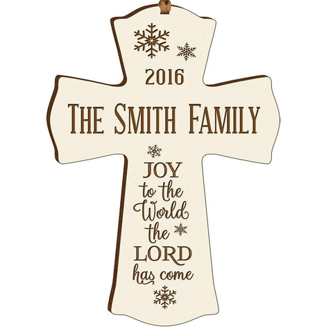 Personalized Christmas Cross Decor - Joy To The World Ivory