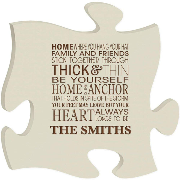 Personalized Custom Engraved Puzzle Sign - Home Where You Hang Your Hat