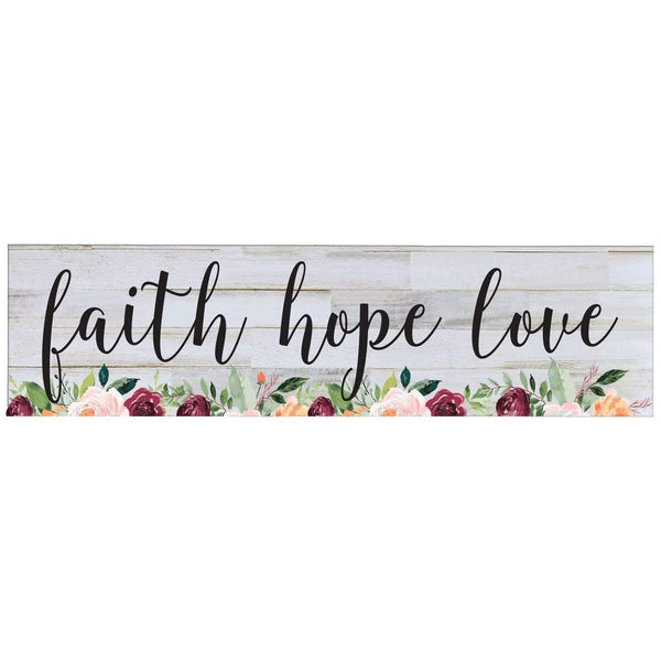 Faith Hope Love Wall Art Decor Floral Print Sign Gift