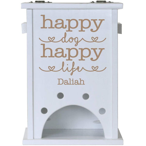Personalized Pine Pet Toy Box - Happy Dog Happy Life White