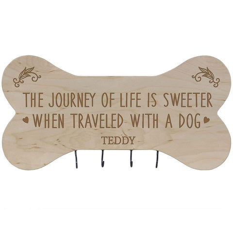 Personalized Dog Bone Sign With Hooks - The Journey Of Life Maple