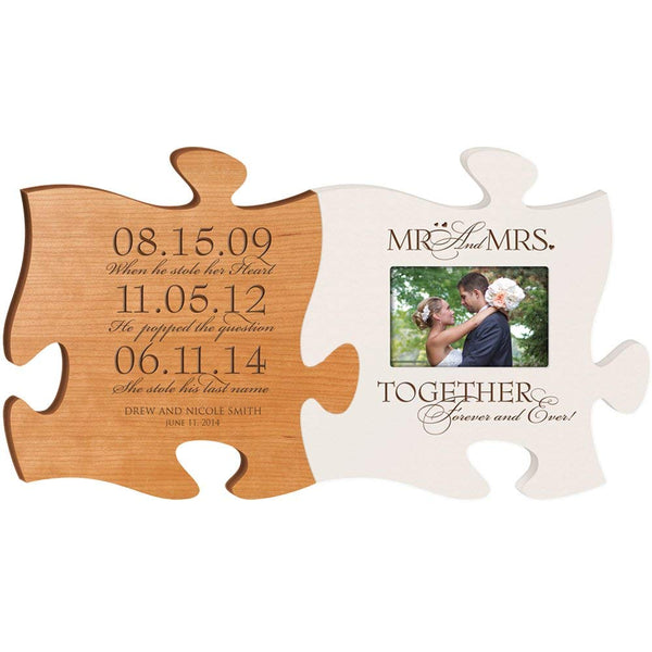 Personalized Wedding Picture Frame Puzzle Piece Set Special Dates - When He Stole Her Heart - He Popped The Question - She Stole His Last Name - Mr & Mrs Together Forever Photo Frame Made in USA Picture Frame Holds 4x6 Photo by LifeSong Milestones