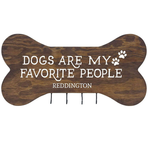 Personalized Dog Bone Sign With Hooks - Dogs Are My Favorite