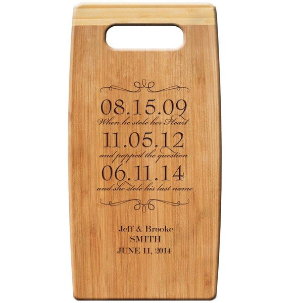 "Personalized Bamboo Cutting Board, Custom Engraved Special Dates to Remember 7""x 14"" for Wedding Gift, Anniversary Gift, and Housewarming Gift"