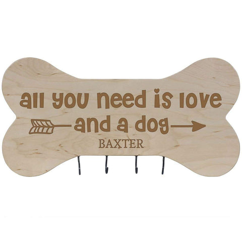 Personalized Dog Bone Sign With Hooks - All You Need Is Love Maple