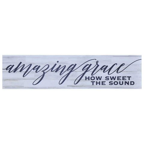 Home Decor Wall Plaques - Distressed White Amazing Grace