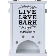 Personalized Pet Toy Box - Live Love Bark White
