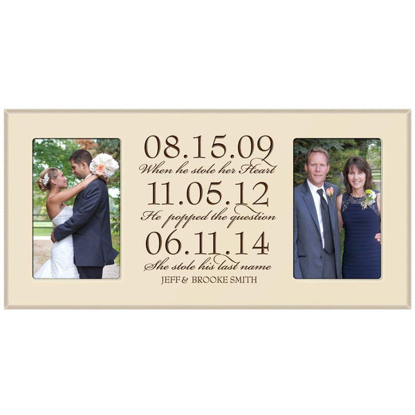 "Personalized Wedding Picture Frame gift for Bride and Groom for parents ""Special dates to remember"" Exclusively from LifeSong Milestones"