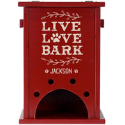 Personalized Pine Pet Toy Box - Live Love Bark Red