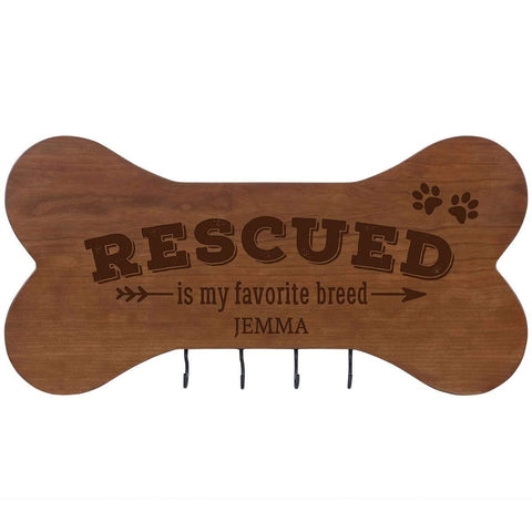 Personalized Dog Bone Sign With Hooks - Rescued Is My Favorite Cherry