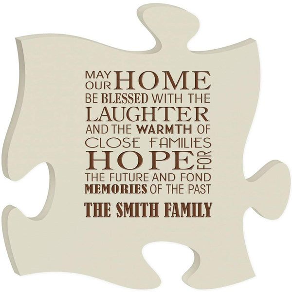 Personalized Puzzle Piece Plaque - May Our Home Be Blessed