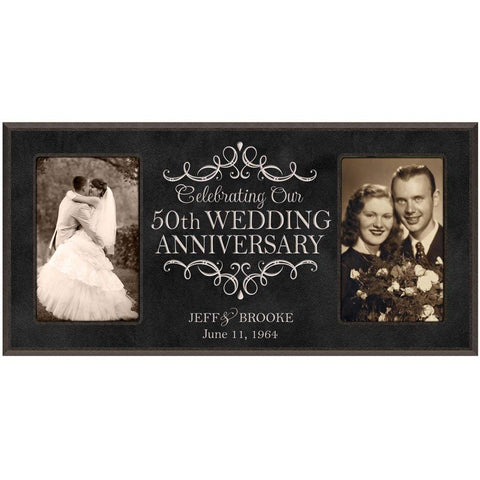 50th Anniversary Picture frame Gift Personalized 50th wedding anniversary with Couples names and anniversary dates Golden Anniversary Gifts