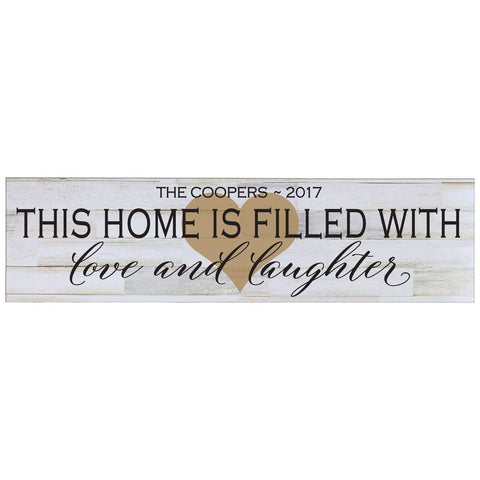Personalized Home Decor Wall Plaques - Distressed White This Home Is Filled Gold Heart
