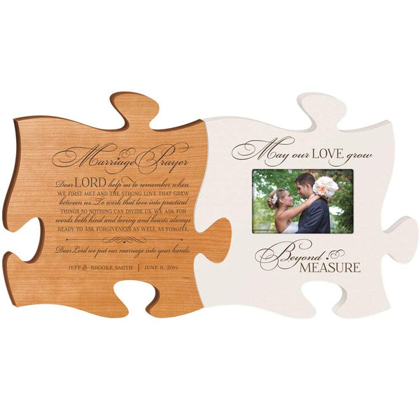 Personalized Wedding Picture Frame Puzzle Piece Set - Marriage Prayer - May Our Love Grow Beyond Measure - Holds 4x6 Photo by LifeSong Milestones