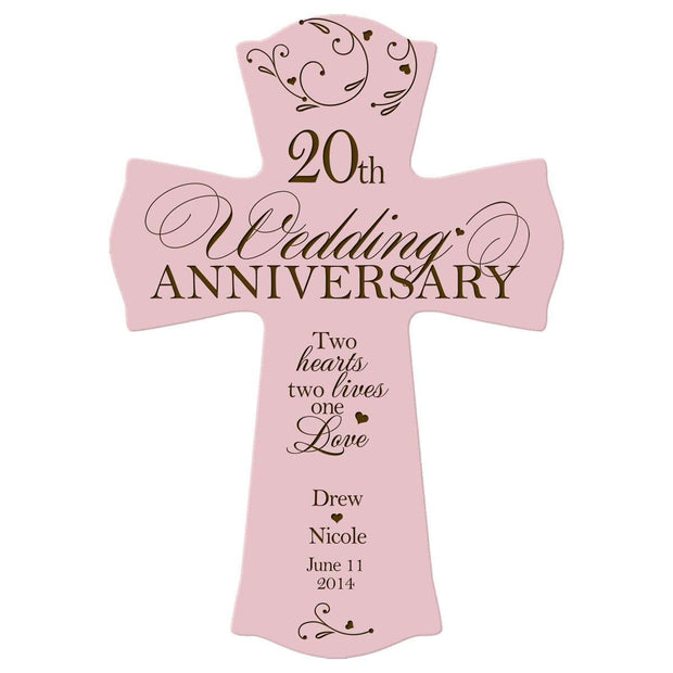 Personalized 20th Anniversary Engraved Wall Cross - One Love Pink