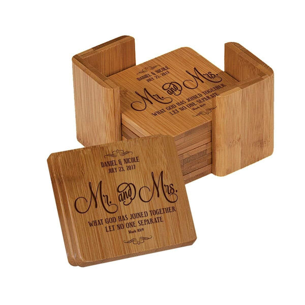 "Personalized Mr & Mrs 7pc Square Bamboo Coaster Set Engraved for Parents Anniversary Bride and Groom 3.75"" x 3.75"" by LifeSong Milestones"