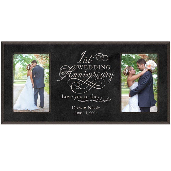 1st Anniversary Picture frame Gift Personalized 1st wedding anniversary with Couples names and anniversary dates (Black)