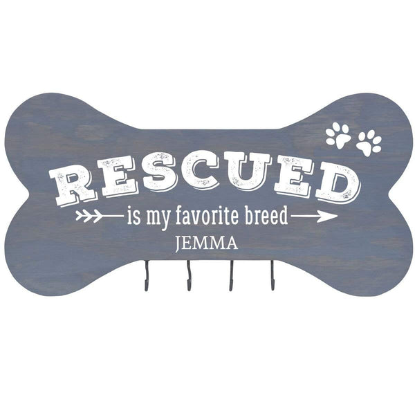 Personalized Dog Bone Sign With Hooks - Rescued Is My Favorite Classic Grey
