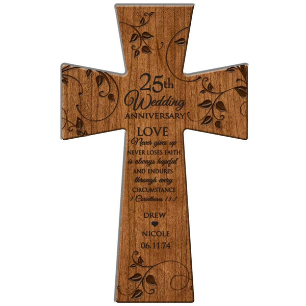 "25th Wedding Anniversary Gifts Personalized Wall Cross "" Love Never Gives Up, Never Loses Faith"" Made in USA of Solid Cherry Wood"