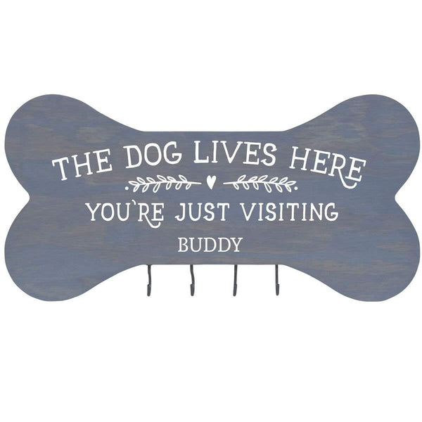"Personalized The Dog Lives Here Wall Mounted Dog Bone Pet Leash Rack,Dog Collar Holder New Home Decor Gift ideas and 4 hooks 16"" L x 8"" H 2.5."" deep by Rooms Organized"