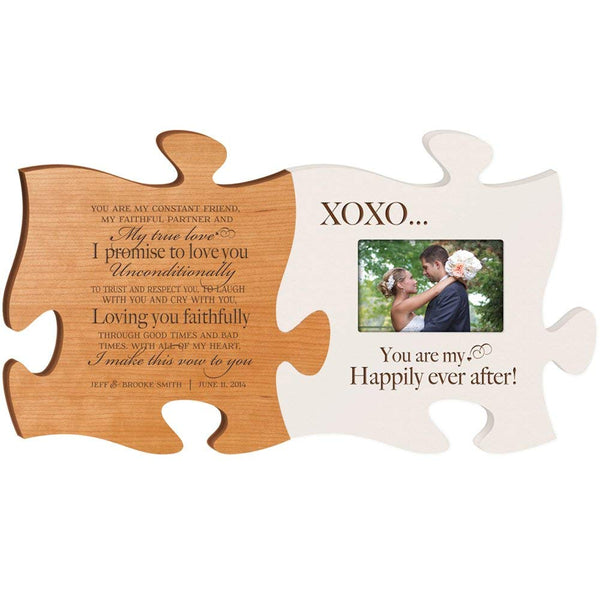 Personalized Wedding Picture Frame Puzzle Gift My True Love I Promise to Love You Unconditionally & You Are My Happily Ever After Holds 4x6 Photo