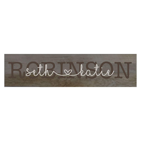 "LifeSong Milestones Last Name Couple Personalized Family Established Wall Signs, Last Name sign for home, Wedding, Anniversary, Living Room, Entryway 10"" H x 40"" L (Barnwood)"
